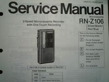 PANASONIC RN-Z106 Micro Cassette Recorder Service manual wiring parts diagram