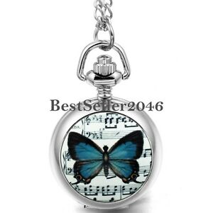Fashion-Quartz-Sheet-Music-Butterfly-Numerals-Pocket-Watch-Women-Ladies-Necklace