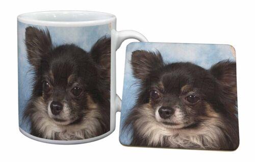 Black Chihuahua Dog Mug+Coaster Christmas//Birthday Gift Idea AD-CH3MC