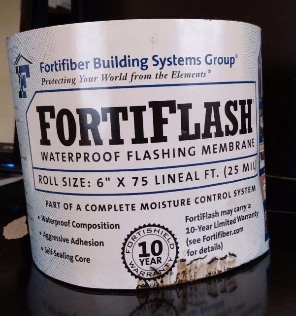 "FortiFiber Systems FortiFlash Waterproof Flashing Membrane 6 "" x 75 FT 25 Mill"