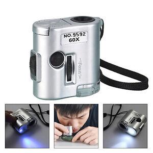 LED-60X-Tasca-Microscopio-Gioielliere-Lente-D-039-ingrandimento-Luce-UV-Bicchiere