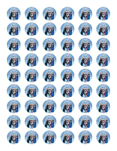 54 QUALITY EDIBLE DISNEY FROZEN WAFER/RICE FONDANT ICING PAPER CUP CAKE TOPPERS