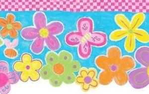 Wallpaper-Border-Flower-Power-Green-Pink-Green-Yellow-Orange-Flowers-on-Blue