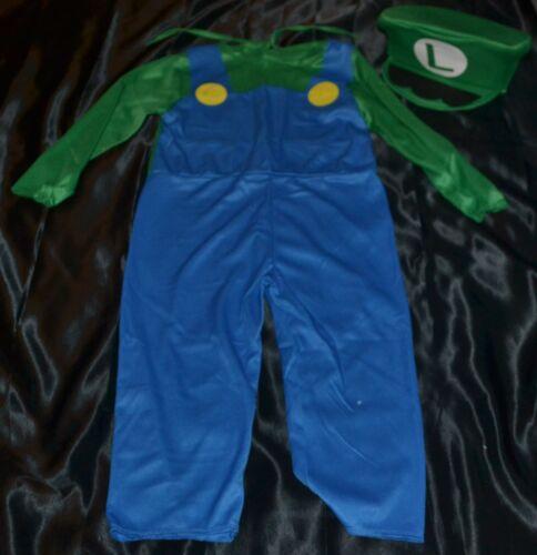 Luigi Super Mario Brothers Bros S Full Halloween Costume Kids Size 4-5 Boys
