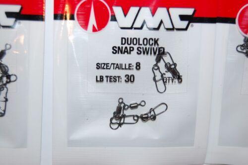 3 packs vmc duolock lock snap swivel size 8 30lb test 5 pr pack dlss#8
