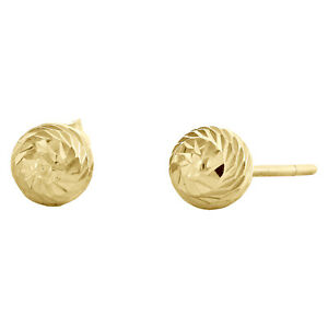 Genuine-14K-Solid-Yellow-Gold-5mm-Diamond-Cut-Textured-Ball-Stud-Post-Earrings