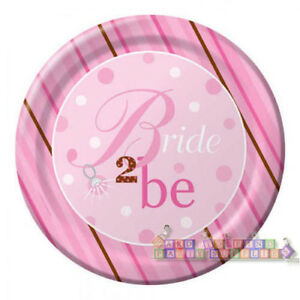 Image is loading BRIDAL-SHOWER-Bride-2-Be-Dots-EXTRA-LARGE-  sc 1 st  eBay & BRIDAL SHOWER Bride 2 Be Dots EXTRA LARGE PAPER PLATES (8) ~ Party ...