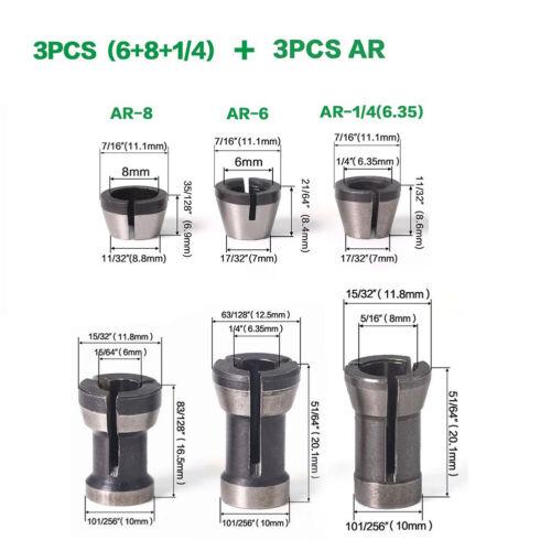 8mm 6,35 6STk Router-Bit Erweiterung Collet Chuck Gravur Trimmmaschine 6