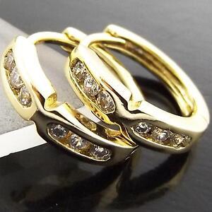FS959-GENUINE-18K-YELLOW-G-F-GOLD-SOLID-DIAMOND-SIMULATED-HUGGIE-HOOP-EARRINGS