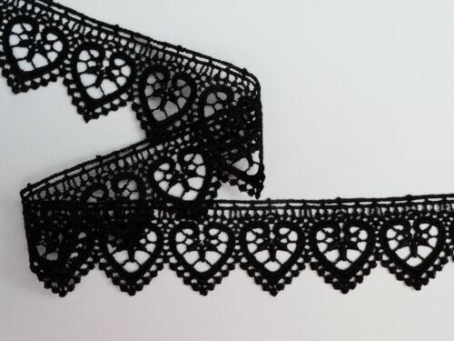 "Black /'Hearts/' Guipure Lace Trim  1.25/""//3.5cm TOP SELLER The Place For Lace"