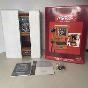 COCA-COLA Nostalgic Wall Hanging Push Phone Retro Telephone Vtg Wooden New Open