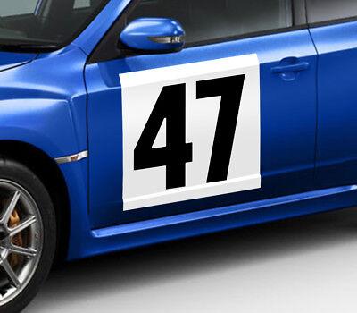 2 STICKERS RONDS BLANC 45cm POUR NUMERO RALLYE COURSE AUTO FIA AUTOCOLLANT NU011