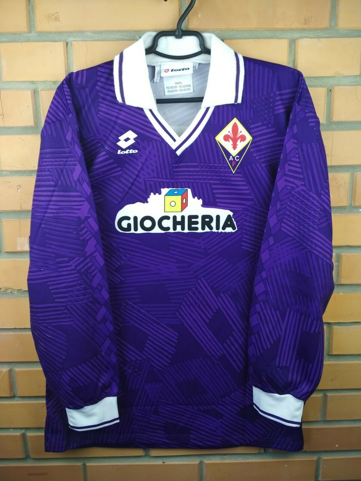 Fiorentina coincide con problema Jersey Camisa Casa 1992 XL 1991 DEADSTOCK Fútbol Lotto