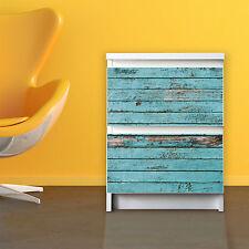 Möbelsticker IKEA MALM Möbelaufkleber Kommode Motiv Sticker Blaue Holzlatten NEU
