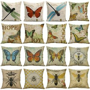 18-034-Butterfly-Bees-Home-Cotton-Linen-Bed-Decor-Pillow-Case-Waist-Cushion-Cover