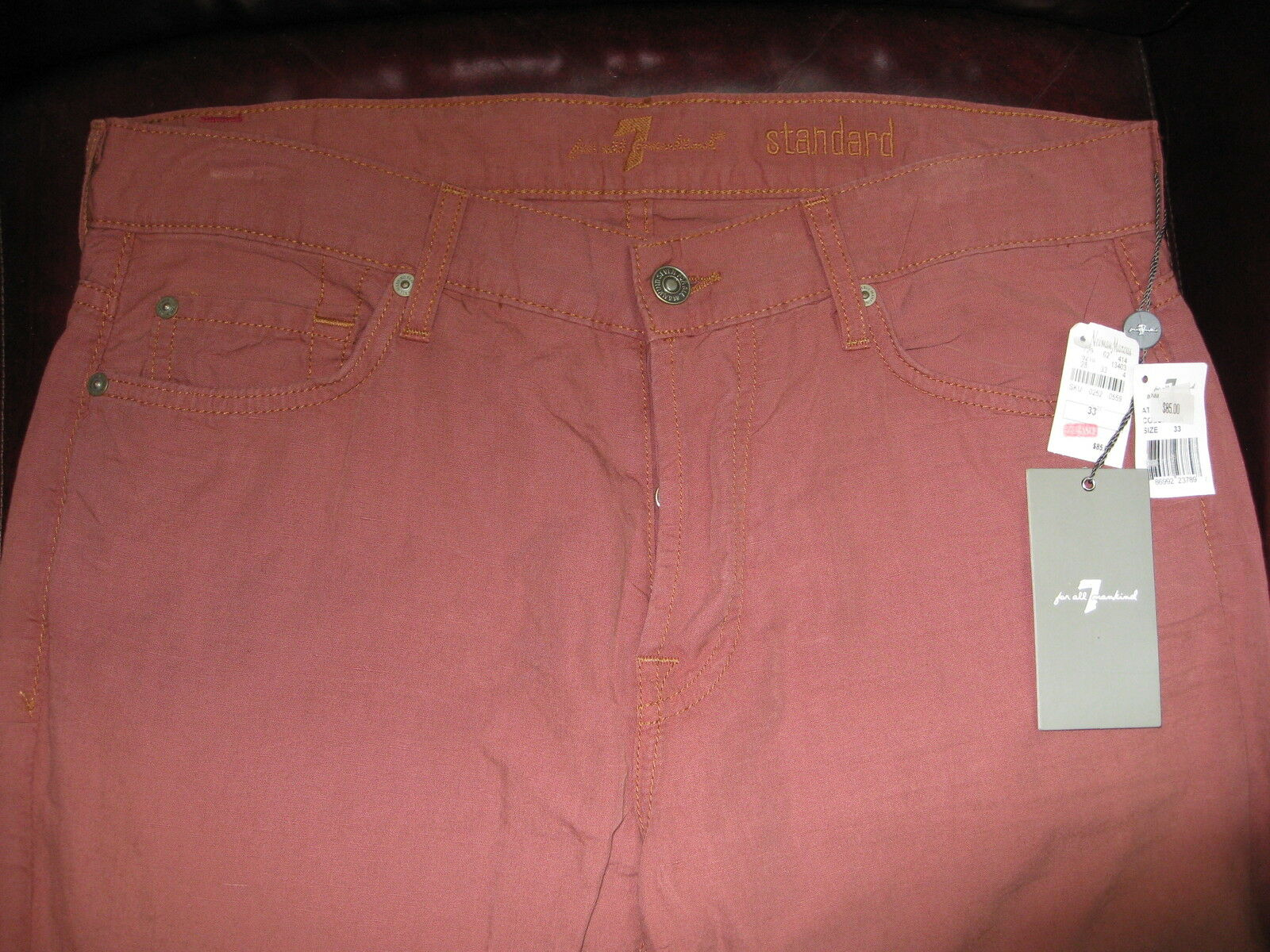 NWT   7 ALL FOR MANKIND JEAN  COLLECTION SLIM FIT SALMON  COLOR SZ 31 X 34