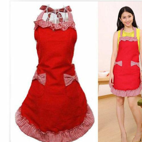 Frauen Schürze Kleid Home Küche Kochschürze mit Taschenbogen Weihnachten