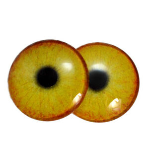 Pair of 25mm Yellow Owl Glass Eyes for Jewelry Making More