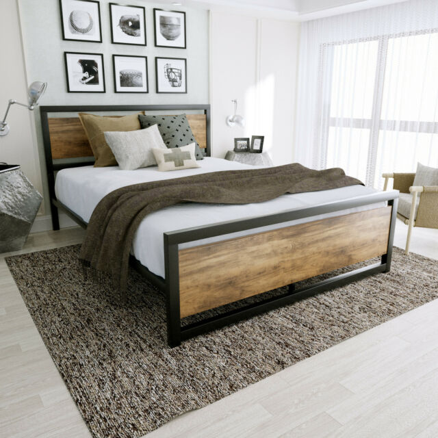 Platform Bed Queen With Headboard Rustic Vintage Reclaimed Wood