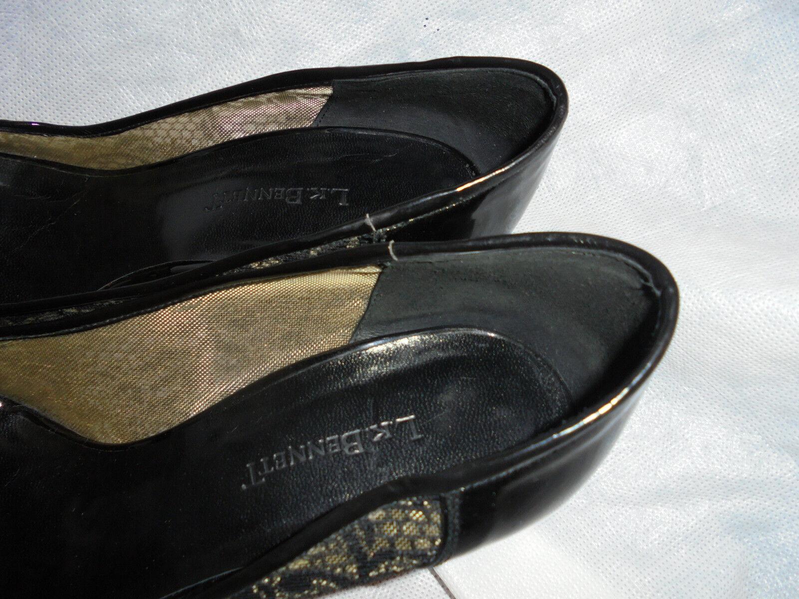 LK BENNETH WOMEN BLACK TOE LEATHER/TEXTILE SLIP ON PEEP TOE BLACK SHOE SIZE UK 6 EU 39 VGC fab9fb