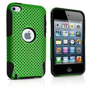 For-iPod-Touch-4th-Generation-HARD-amp-SOFT-SILICONE-CASE-COVER-GREEN-BLACK-MESH