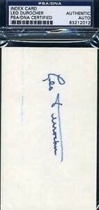 Leo Durocher Signed Psa/dna 3x5 Index Card Autograph Authentic