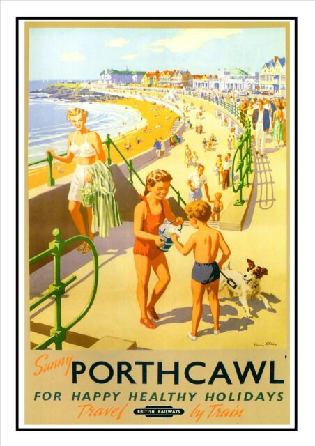 British Railway Travel Advert Old Vintage Retro Picture Poster Porthcawl C