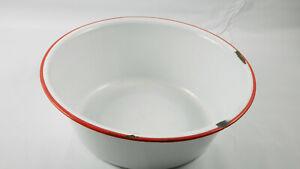 Vintage Czechoslavakian Enamelware Bowl Blue with Red rimWhite Interior