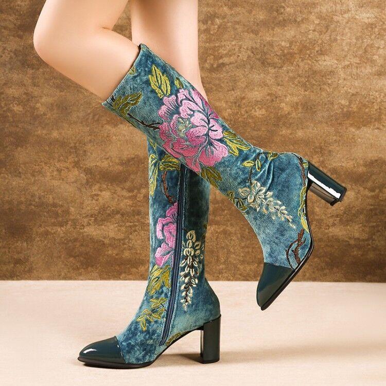 Nouveau Haut Daim Block Talon Broderie Floral Ethnique Bottes Mi-Mollet Fermeture Éclair Chaussures
