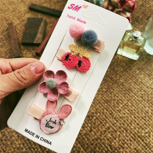 Baby Headwear Cute Hair Clips Accessories For Kids Children Hair Clip 4Pcs//set