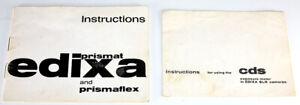 VERGINI Edixa PRISMAT CD 35mm SLR Film Camera Manuale-NOV 1965 RARA