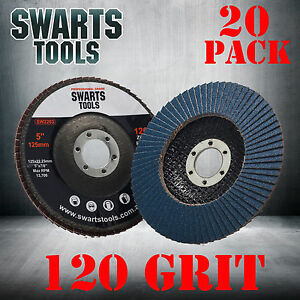 20 x  Abrasive 5'' 125MM Metal Sanding Flap Discs Angle Grinder Wheels 120 Grit