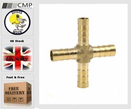 8mm Latón Manguera Montaje Cruz 4 Vías Conector Para Aire Agua Gas vendedor del Reino Unido