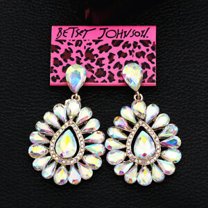 Betsey-Johnson-Jewelry-Colorful-AB-Crystal-Flower-Earbob-Dangle-Women-039-s-Earrings