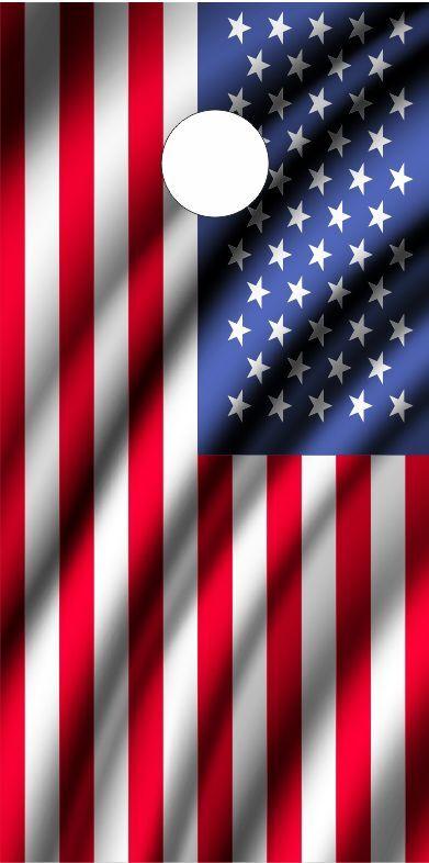 American Flag Ripples LAMINATED Cornhole Wrap Bag Toss Skin Decal