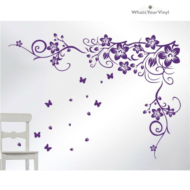Modern Home Wall Sticker Vinyl Art Decal Design Floral Vine Flower Butterfly