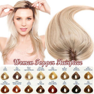 100-Handmade-MONO-amp-PU-Topper-Toupee-Clip-in-Human-Remy-Hair-Replacment-Hairpiece
