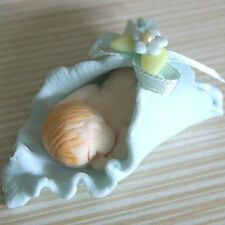 New Handmade Polymer Clay Fimo Baby Shower Cute Baby Boy Sleeping Figurine Blue