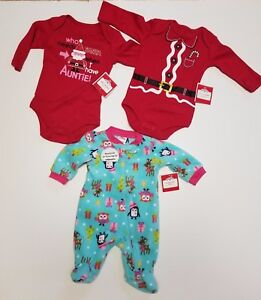 image is loading newborn christmas pajamas nwt sleepwear 3 pack aunt