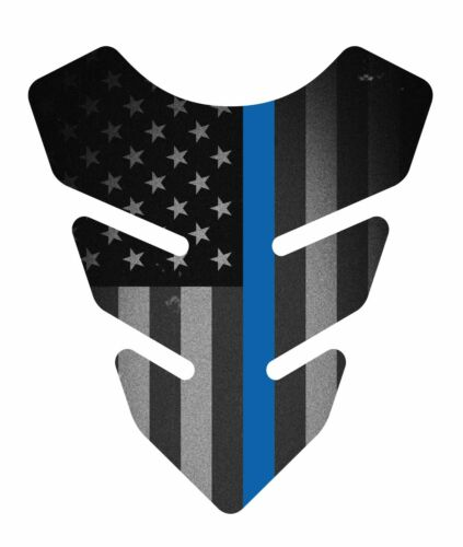 Fallen Police Thin Blue line Mini Motorcycle SportBike Gas 3d Tank Pad Protector