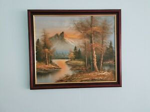 Vintage Framed Landscape Oil Painting. Red Mahogany Colour Wood Frame .