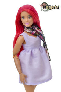 ELENPRIV FA001 light violet mini-dress tunic with a scarf for Barbie dolls
