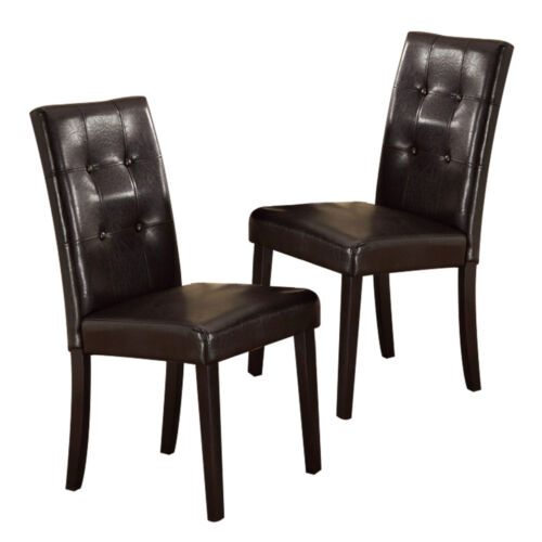 Set of 2 High Back Dining Side Chairs Stools Upholstered Faux Leather Dark Brown