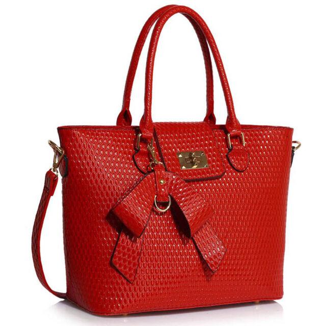 b1ac3a59b7d DESIGNER Handbags Women's Ladies Style Faux Leather Bow Charm Grab Bag  Large Red Handbag