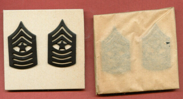 USMC SERGEANT MAJOR SUBDUED METAL COLLAR RANK 1 PAIR