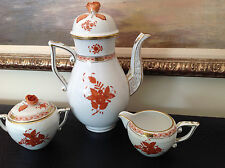 Herend Chinese Bouquet/Apponyi Orange/Rust Coffee Pot Creamer and Creamer AOG