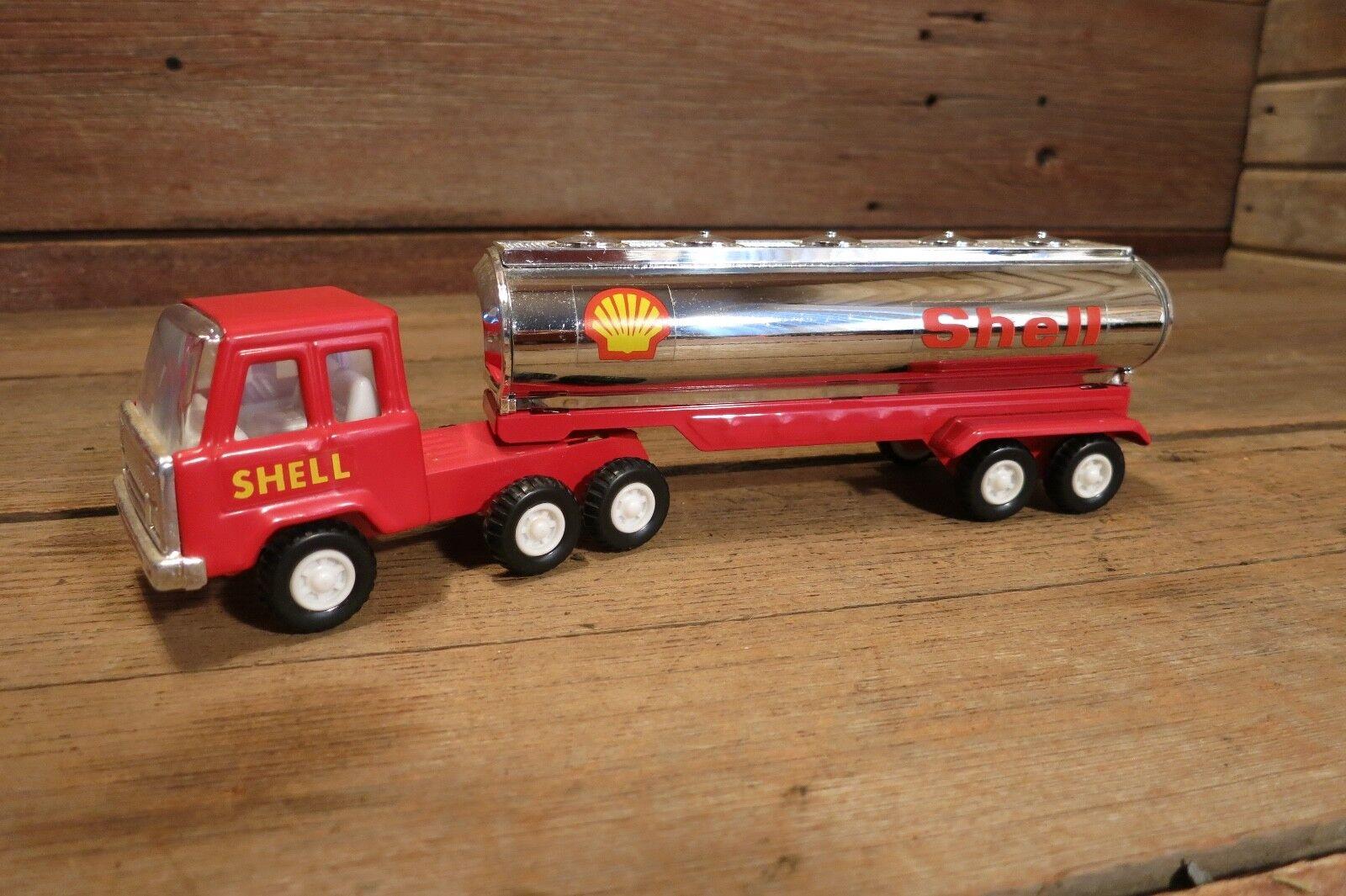 buena calidad Vintage rojo Cromo Cromo Cromo Shell petrolero camión semi-acero prensado en gran condición.  costo real