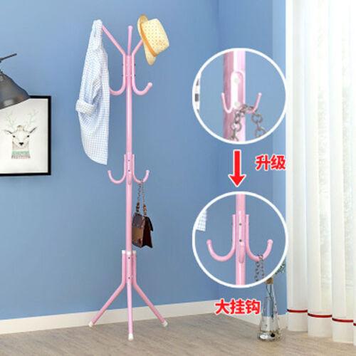 Simple Metal Coat/&Hat Floor Standing Coat Rack Clothes Tree Style Hanger Hooks