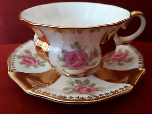 Collingwoods-Tea-Cup-And-Saucer-Thick-Gold-Stripe-Pink-Cabbage-Rose