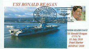 Uss-Ronald-Reagan-CVN-76-Pearl-Harbor-Color-Foto-Cachet-Pictorico-15th-Anniv-Pm